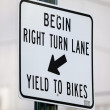 Right Turn Bike Lane Sign — Stock Photo #53492389