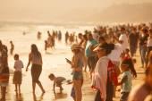 Crowded Santa Monica Beach — Stock Photo