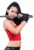 Woman samurai — Stock Photo