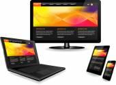 Webbplats mall på flera enheter — Stockvektor