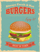 Vintage Burgers poster — Stock Vector
