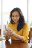 Young Attractive Woman At Cafe — Foto de Stock