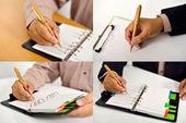 Set zakenman schrijven — Stockfoto