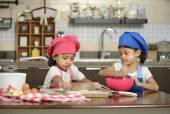 Two Little Girls Making Pizza — Stock Photo