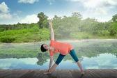 Mãe grávida fazendo yoga no lago — Fotografia Stock