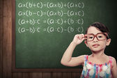 Little Girl With Math Formulas — Stock Photo