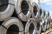 Rolled galvanized steel with polymer coating — Stock Photo