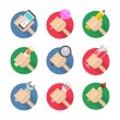 Vector set of flat hand icons — Stock Vector #56701033