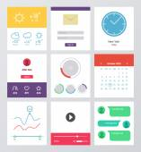 Set of flat design UI and UX elements — Stock Vector