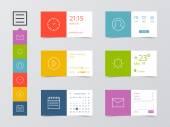 Flat Mobile Web UI Kit — Stock Vector