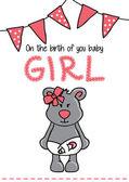 Template frame design for girl baby arrival — Stock Vector