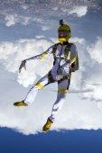 Parachutist performs figure freestyle — Foto de Stock