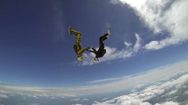 Skydivers in freefall — Stock Video