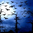 Dark blue forest and bats scary background — Stock Photo #54120187