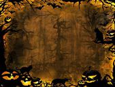 Halloween pumpkins cats and bats - dark lights background — Stock Photo