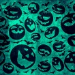 Happy halloween pumpkins with bats on green background wallpaper — Stock Photo #54454735