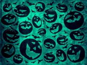 Happy halloween pumpkins with bats on green background wallpaper — Stock Photo