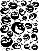 Halloween silhouettes, bats and pumpkins isolated on white — Stock Photo