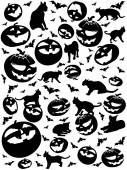 Halloween vertical silhouettes, bats, cats and pumpkins isolated on white — Stock Photo