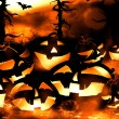 Halloween pumpkins and dark forest at night — Stock Photo #54869279