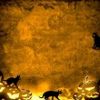 Halloween pumpkins and black cats - brown sepia texture background — Stockfoto #55062137