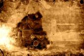 Old steam train sepia background — Stock Photo
