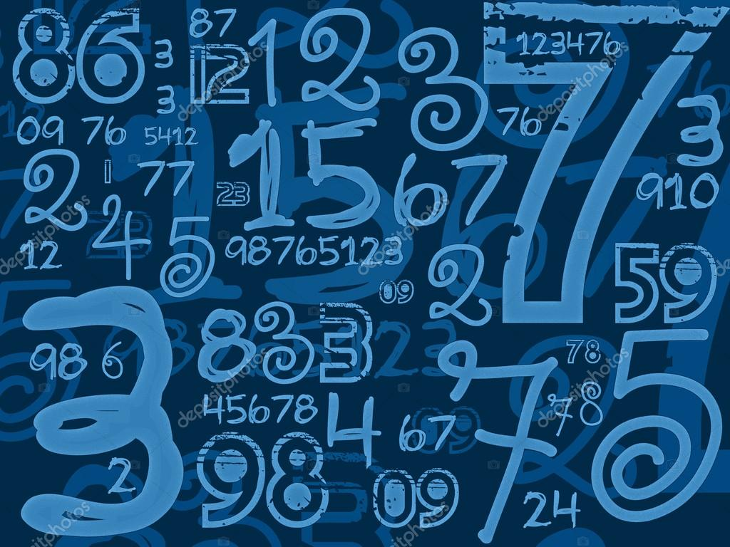 blue handmade numbers math background � stock photo