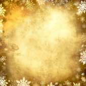 Vintage snowflake golden background frame — Stok fotoğraf
