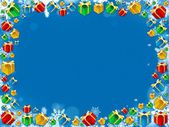 Colorful christmas gifts snowflakes frame — Stock Photo