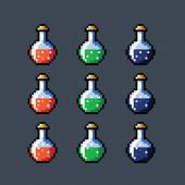 Set of animated potion bottles phial vial, pixel art vector isolated — Wektor stockowy