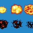 Постер, плакат: Pixel Art Video Game Explosion Animation Vector Frames