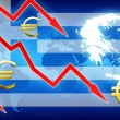 Financial problems in Greece red arrows euro currency symbol concept news background — Stock Photo #76034007