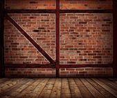 Vintage tegelvägg och trä golv inredning — Stockfoto