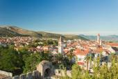 Trogir - historic town in Croatia (Dalmatia). Aerial view on ancient Trogir. Summer vacation concept — Stock Photo