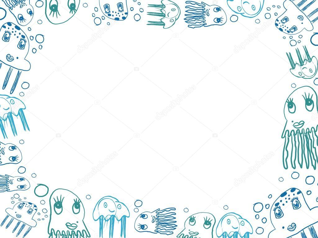 Imagen De Medusa: Marco Horizontal Del Dibujos De Medusa Azul Infantil