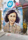 Anne frank mural in berlin — Stock Photo