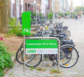 Loading station for electric bikes — Stock Photo