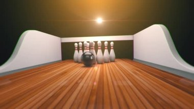 Bowling strike realistic timewarp 3d animation — Стоковое видео
