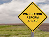 Caution - Immigration Reform Ahead — Стоковое фото