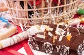 Chocolate cake close up — Stock Photo