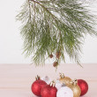 Pine tree branch with red, white and gold Christmas baubles — Stock Photo #58346451