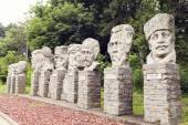 Famous Romanian personalities statues from Cuza's castle in Ruginoasa, Romania — Stock Photo