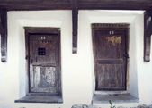 Old wood doors in Prejmer fortified church, Brasov county, Romania — Stock Photo