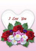 Mazzo di fiori con un cuore bianco su uno sfondo sfumato di rosa — Foto Stock