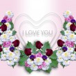 White hearts with a wreath of flowers on a pink background — Stock Photo #60623227