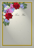 White square frame with an angle of flowers and leaves — Stock Photo