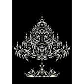 Silver Christmas tree in Victorian style — Vector de stock