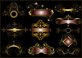 Collection of vintage gold frames — Stock Vector