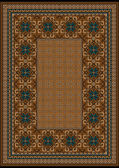 Luxury carpet with a blue pattern against the backgroundbrown shades — Vettoriale Stock