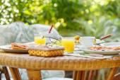 Breakfast in the garden — Stock Photo